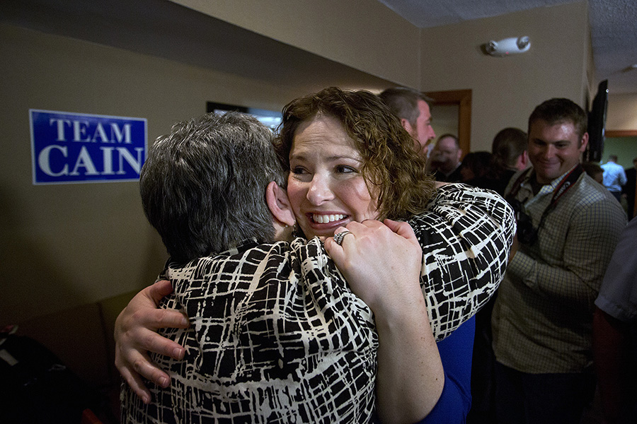 Emily Cain hugs a supporter at the Holiday Inn in Bangor after she defeated her opponent, Troy Jackson. Gabe Souza/Staff Photographer