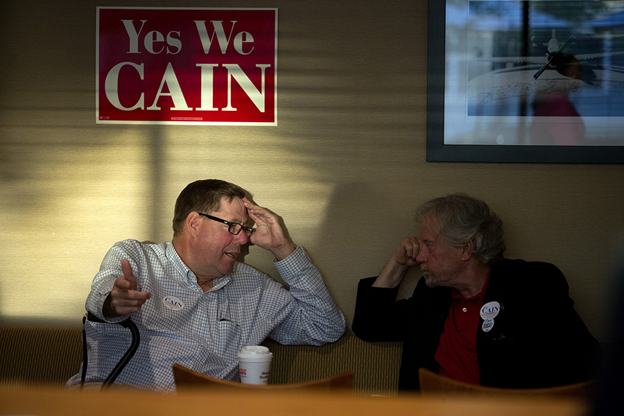 Ed Pineau of Vassalboro, and Charles Pray of Millinocket, supporters of Democratic candidate for the 2nd Congressional District Emily Cain, wait for results from the primary election at the Holiday Inn on Odlin Road in Bangor. Gabe Souza/Staff Photographer