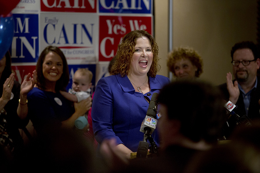 Democratic candidate for the 2nd Congressional District Emily Cain gives her victory speech after she defeated Troy Jackson of Allagash in the primary election. Gabe Souza/Staff Photographer