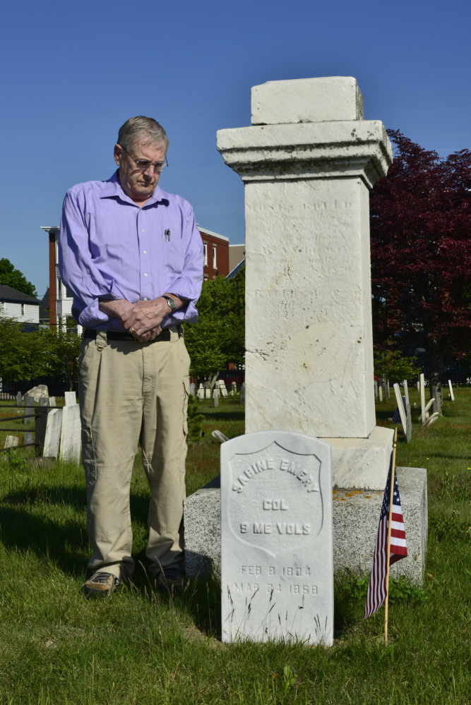 Logan Werlinger/Staff Photographer Ben Smith finally located the resting place of Col. Sabine Emery of Eastport in Portland's Eastern Cemetery and arranged for the federal government to provide a stone.