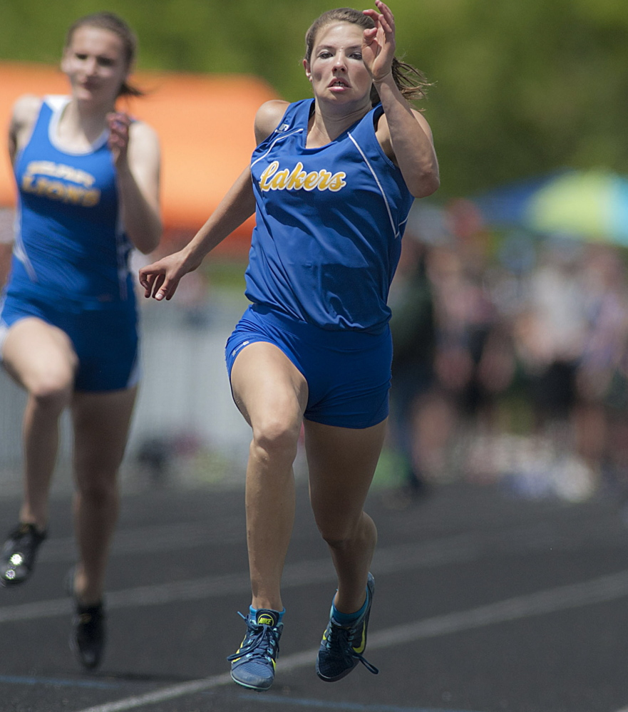 Kate Hall of Lake Region doesn't just win events, she dominates them. And that's what she did while winning the 100-meter dash in the Class B state meet Saturday at Brewer, leaving the rest of the field behind. Michael C. York/Special to the Telegram