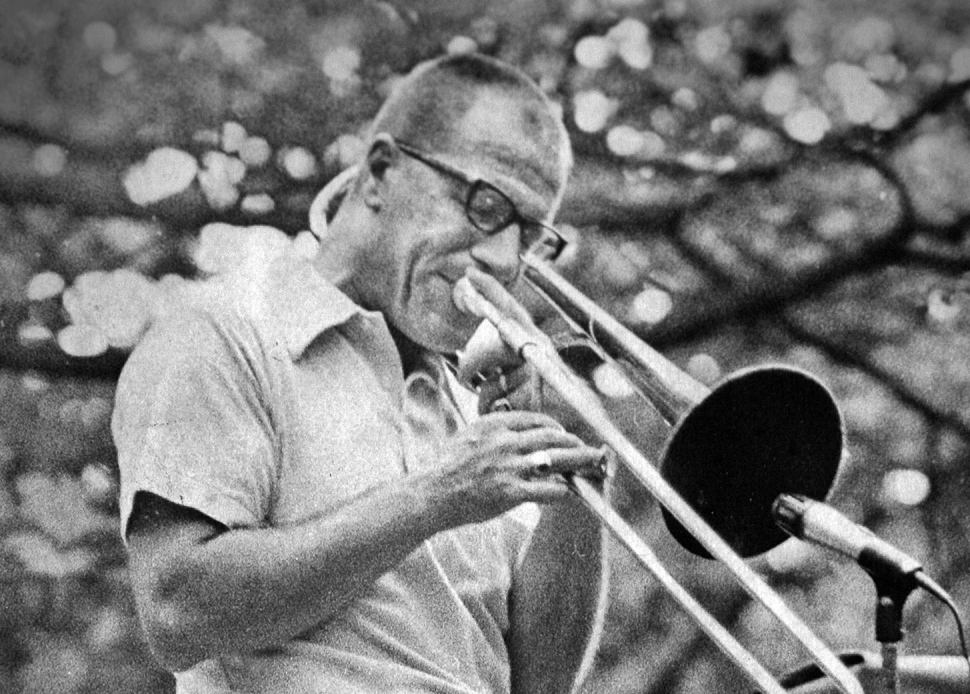 Don Doane performs in a park in Portland in 1975. Fifty years ago, he played professionally and toured with jazz greats Maynard Ferguson, Count Basie and others. 1975 Press Herald file photo