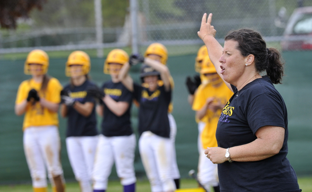 Cheverus Coach Maureen Curran has guided her softball team to a 13-3 record this season, just one year after the Stags finished 6-10 and missed the Western Class A playoffs. John Patriquin/Staff photographer