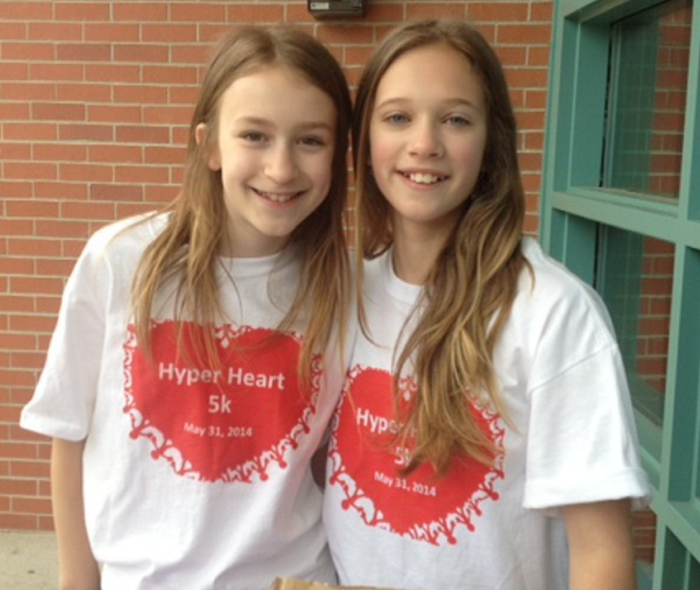 Karina Boothe, left, and Lauren Paradise raised $1,600 from HyperHeart 5K, a walk/race they organized to fund research of a rare and often deadly heart disorder. Photo courtesy Jon Paradise