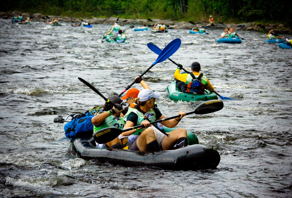 Participants in the Untamed New England Adventure Race will test their skills in a number of outdoor activities in the 200-mile event, including rafting on Maine rivers.