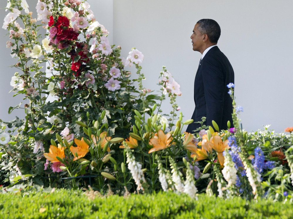 President Obama walks through the Rose Garden on his way into the White House Monday after returning from a trip to California. The White House announced he plans to sign an order banning federal contractors from employment discrimination based on sexual orientation.