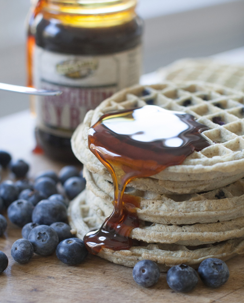 Sorghum syrup over waffles.