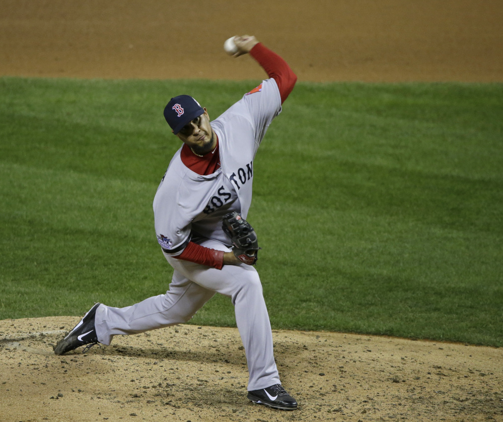 Red Sox relief pitcher Felix Doubront throws during Game 3 of the World Series against the Cardinals on Oct. 26, 2013, in St. Louis. The Associated Press