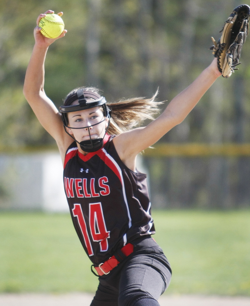 Lauren Bame, a senior, has led Wells into the Western Class B final Wednesday – a long way and a courageous fight back after suffering a double concussion as a freshman pitcher.