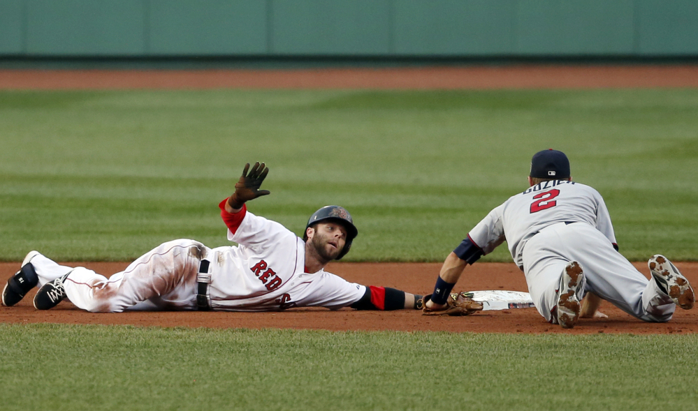 Boston Red Sox's Dustin Pedroia calls for time out after sliding in safely with a double as Minnesota Twins second baseman Brian Dozier fields the throw in during the first inning.