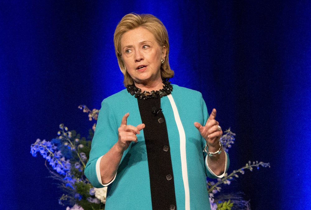 Former U.S. Secretary of State Hillary Rodham Clinton delivers a keynote address during a luncheon in Edmonton, Alberta on Wednesday June 18, 2014.
