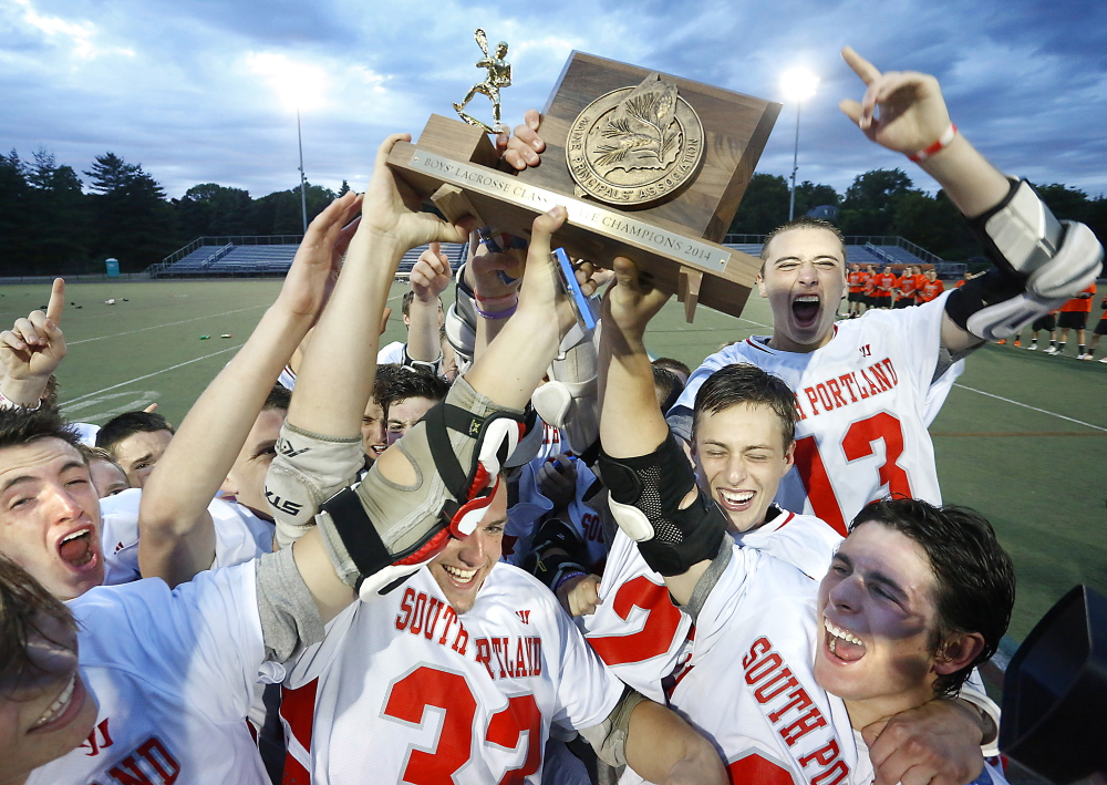 South Portland can add a boys' lacrosse state championship trophy to its trophy case after the Red Riots beat Brunswick 10-8 in the Class A final Saturday at Fitzpatrick Stadium.