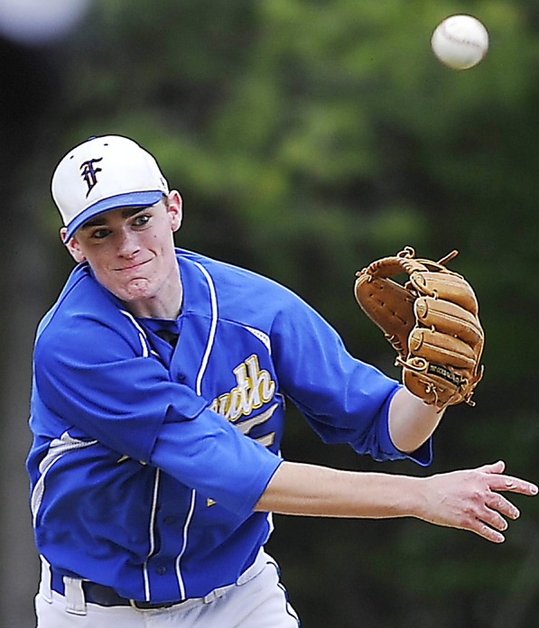 """Will D'Agostino's defense at shortstop is a big reason Falmouth has won nine straight. """"I feel Will is the best defensive shortstop I've seen in southern Maine,"""" says his coach, Kevin Winship. Gordon Chibroski/Staff photographer"""