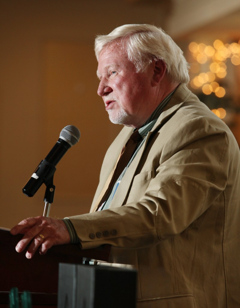Portland Press Herald sports writer Steve Solloway speaks at the 27th Annual All-Sports Awards on Sunday.  Joel Page/Staff Photographer