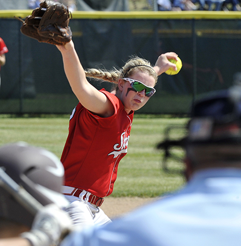 Scarborough's # 2 Alyssa Williamson delivers a pitch as Scarborough HS softball plays Thornton Academy for the Western Class A Softball Championship at St. Joseph's College in Standish.