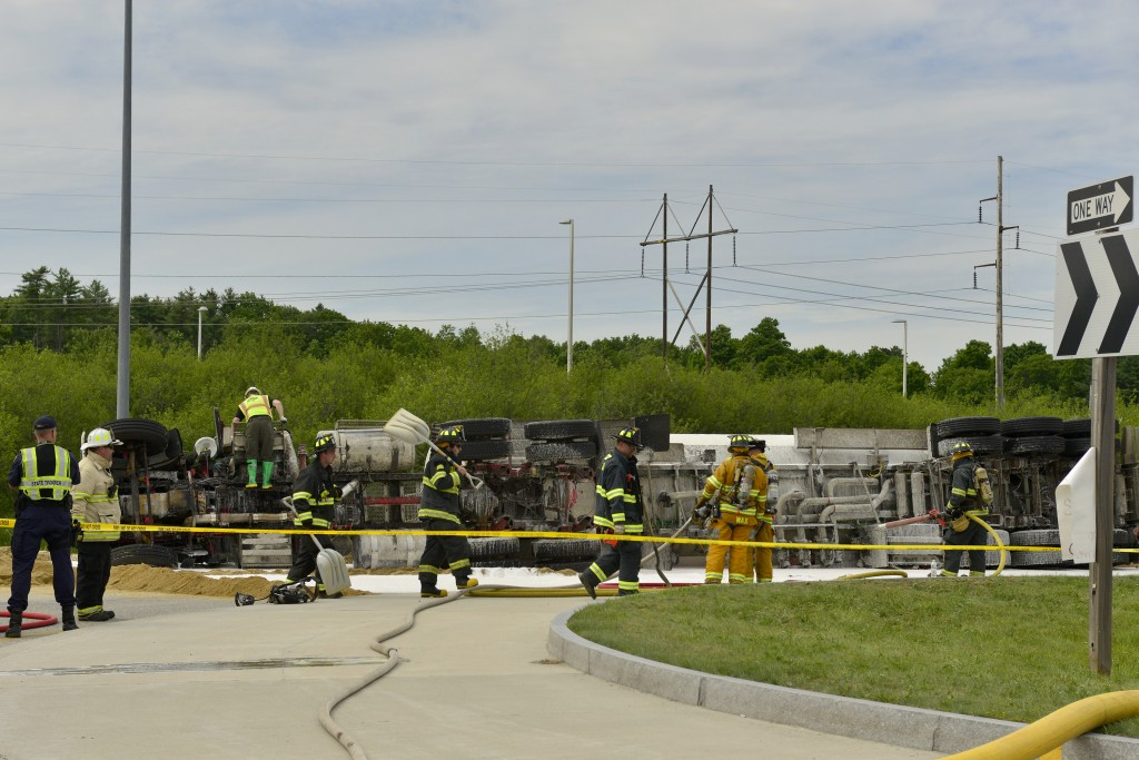 A tractor-trailer truck carrying fuel overturned on northbound Rt. 114 outside in Gorham on Wednesday.
