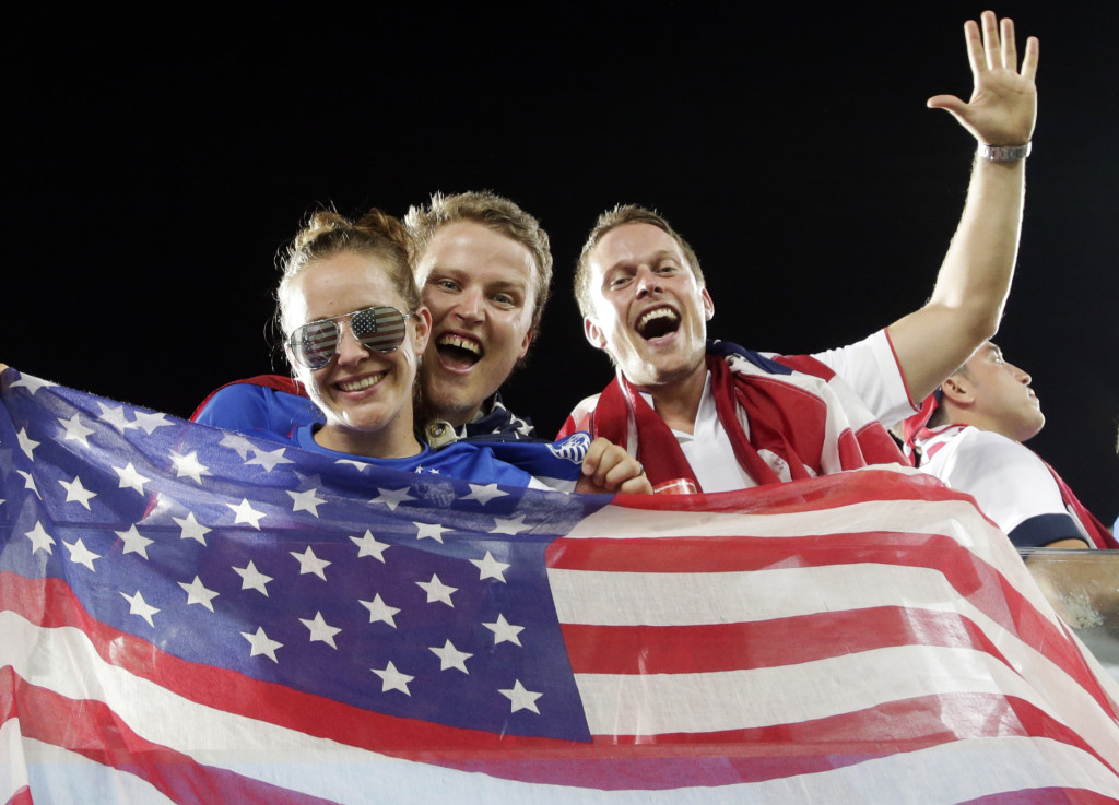 American fans cheer for their team before the group G World Cup soccer match between Ghana and the United States.