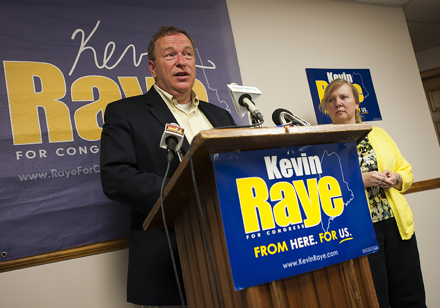 Kevin Raye supported by his wife, Karen, tells supporters that the poll trends are not in his favor during a short speech at his campaign headquarters in Bangor on Tuesday.  Kevin Bennett Photo