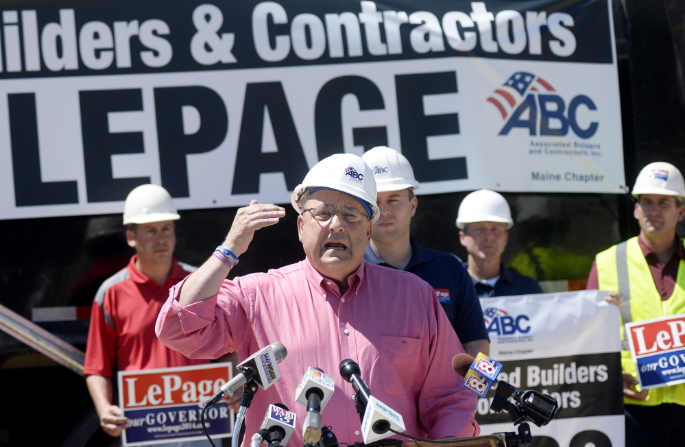 Patrick Ouellette/Staff Photographer Gov. Paul LePage speaks at a Storey Brothers Excavating site in Gray on Tuesday.