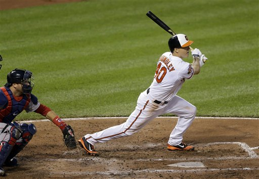 Orioles catcher Nick Hundley singles in the fourth inning against the Boston Red Sox on Wednesday in Baltimore. Shortsop J.J. Hardy scored on the play. The Orioles won, 6-0. The Associated Press