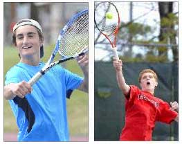 """Conner Sullivan, left, and Jack Tierney are part of the second doubles team at Cape Elizabeth. """"Whomever we play, we never get angry or frustrated with each other,"""" said Sullivan. Gordon Chibroski/Staff Photographer"""