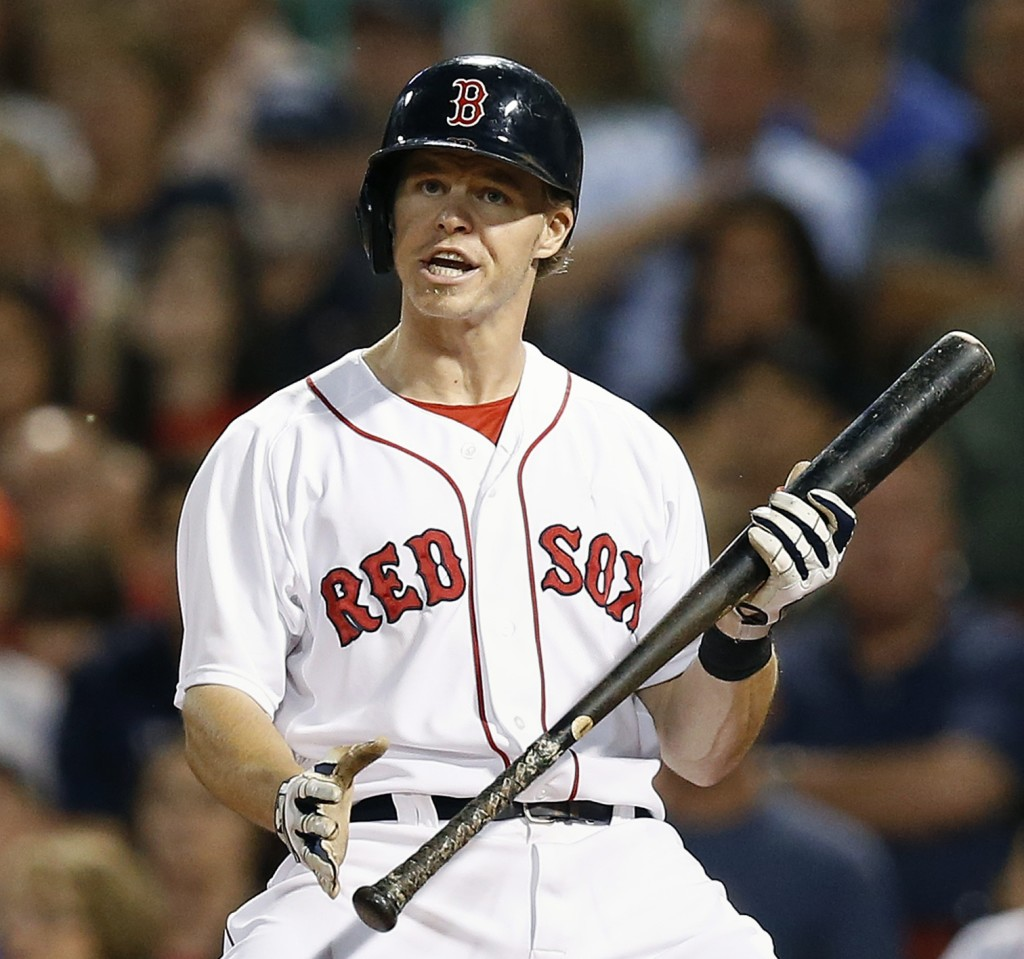 Brock Holt reacts after he struck out looking in a  game against the Minnesota Twins last summer.