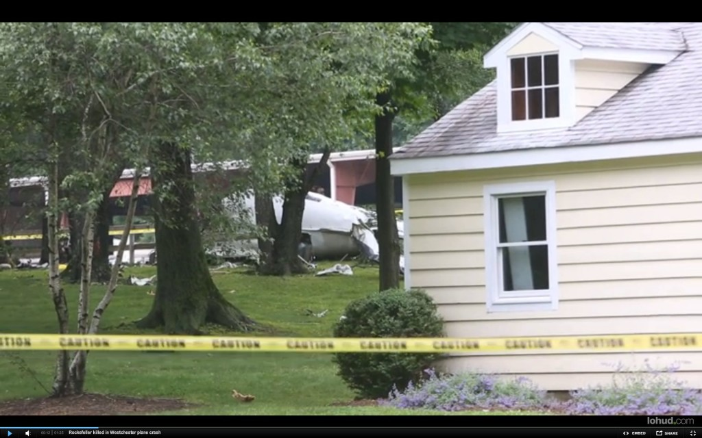 This image captured from video shows the crash site of Richard Rockefeller's plane in Purchase, N.Y.