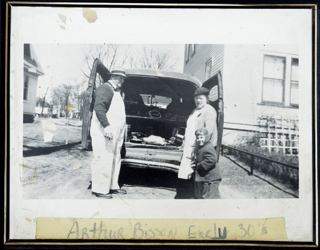 First generation farmer Arthur Bisson with family members and his delivery truck in the early 1930s.