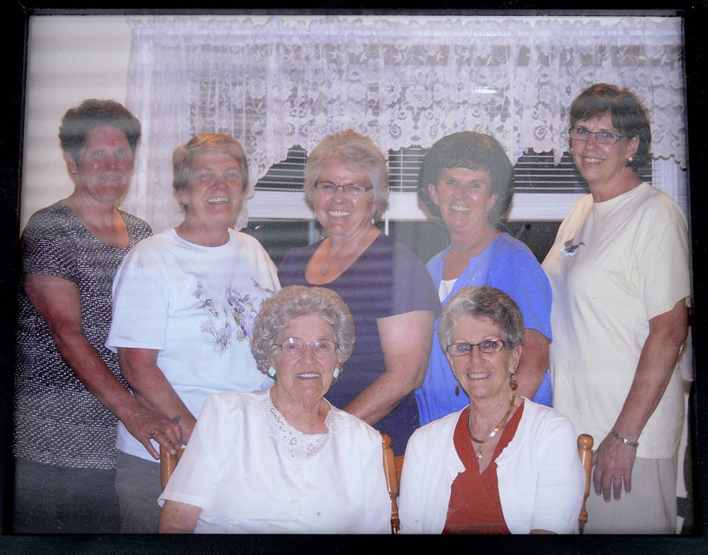 The third generation of Bisson family farmers includes sister, top, Doris, Denise, Priscille, Lucille and Maria. Bottom, mother Lorraine and Louise.