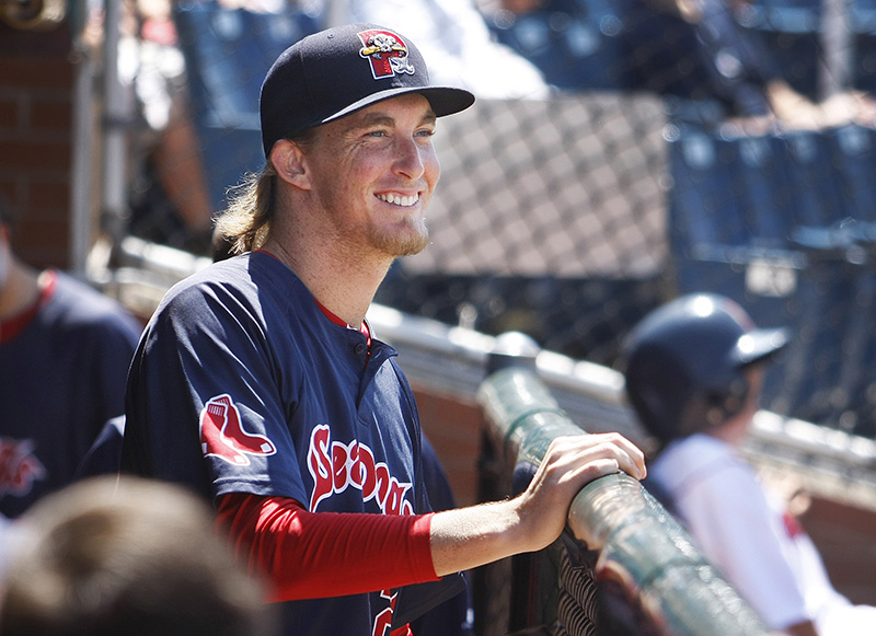Portland Sea Dogs pitcher Henry Owens watches the action on the field Sunday, July 6, 2014 vs. New Britain Rock Cats at Hadlock Field in Portland.  Jill Brady/Staff Photographer