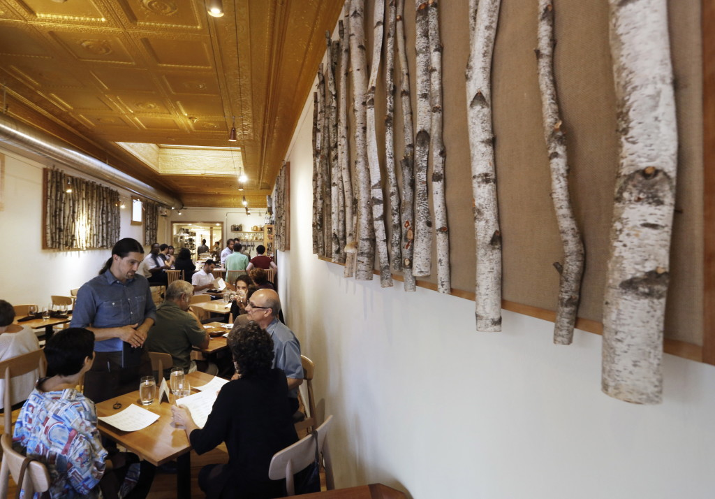 Birch-branch wall decorations seem to underscore Vinland's commitment to natural Maine ingredients in its fare.