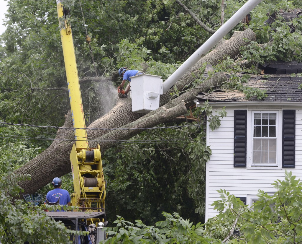 Tree service workers on Wednesday remove a large ash tree that fell and damaged the roof at 158-A York St. in York after a severe storm hit many parts of the town.