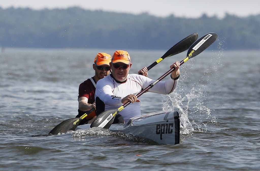 Chalupsky paddles a tandem boat with Mark Berry of Winter Harbor at the end of the lesson.