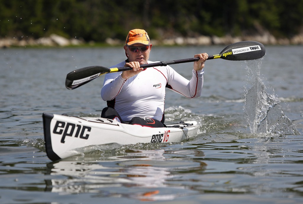 Champion racer Oscar Chalupsky demonstrates proper paddling technique.