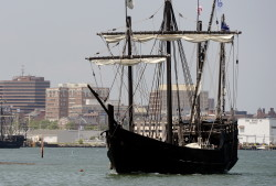 The Nina, a replica of Columbus' ship, arrives in Portland Harbor on Wednesday.