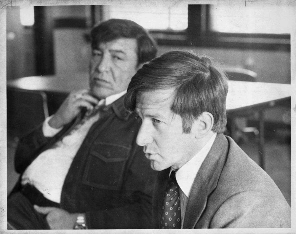 Tom Tureen and Gov. John Stevens, 1977. Press Herald file photo by Charles H. Merrill