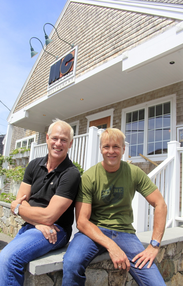 Mark Gaier, left, and Clark Frasier outside their MC Perkins Cove restaurant in Ogunquit. The James Beard award-winning chefs also operate M.C. Spiedo in Boston.