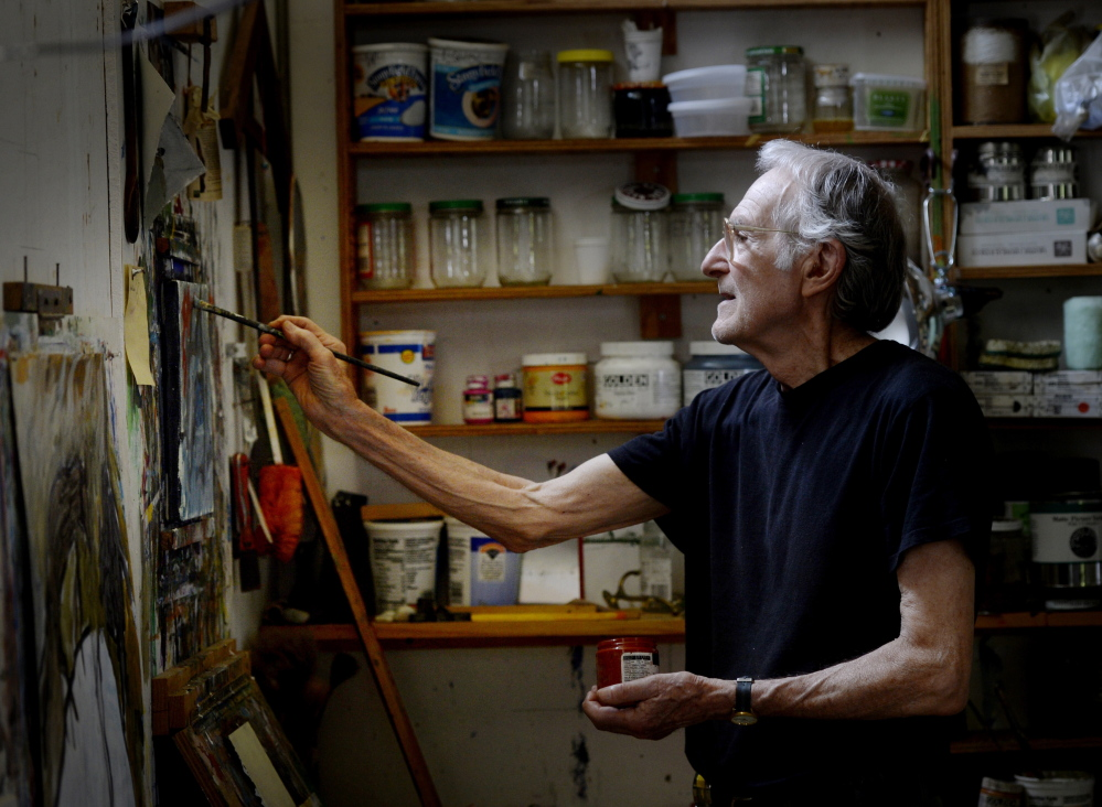 Richard Brown Lethem at work in his studio in Berwick. Shawn Patrick Ouellette/Staff Photographer