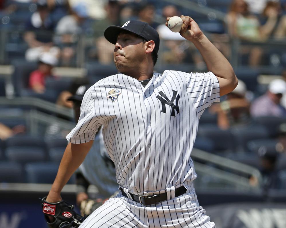 New York Yankees starting pitcher Vidal Nuno was traded to Arizona on Sunday for veteran right-hander Brandon McCarthy.
