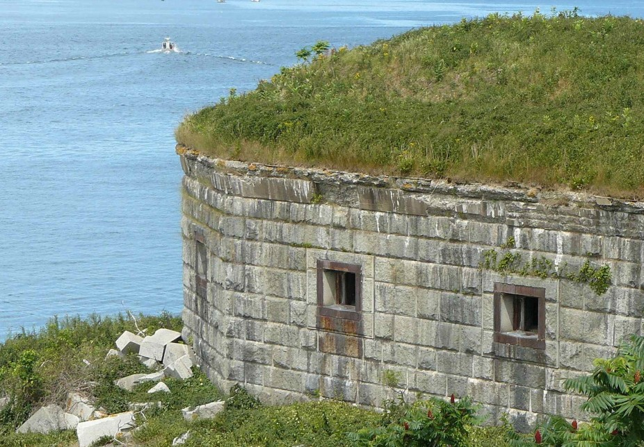 Developer Michael Scarks said he will provide limited public access to Fort Scammell, built in 1808 on House Island's western end to defend the shipping channel into Portland, in background.