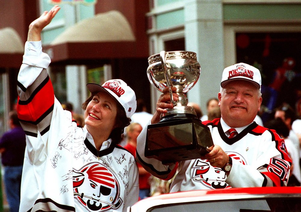 Joyce and Tom Ebright, the owners who brought the Pirates to Portland from Baltimore, were part of the championship parade on Congress Street after the team won the Calder Cup in its first season in Maine.