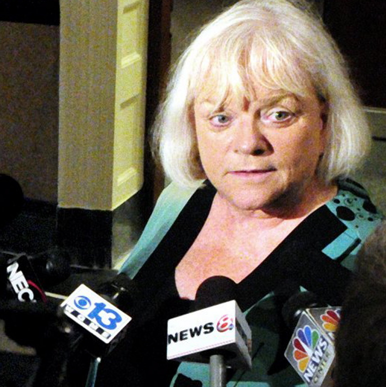 Linda Bean, of Linda Bean's Maine Lobster, is seen in 2012 at the State House in Augusta. Her company is under fire from People For Ethical Treatment of Animals, which claims her firm's lobster processing methods are inhumane.