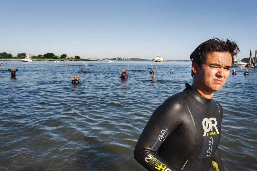 Alex Mukai, from Cape Elizabeth, warms up before the Peaks to Portland on Saturday. Mukai came in second.