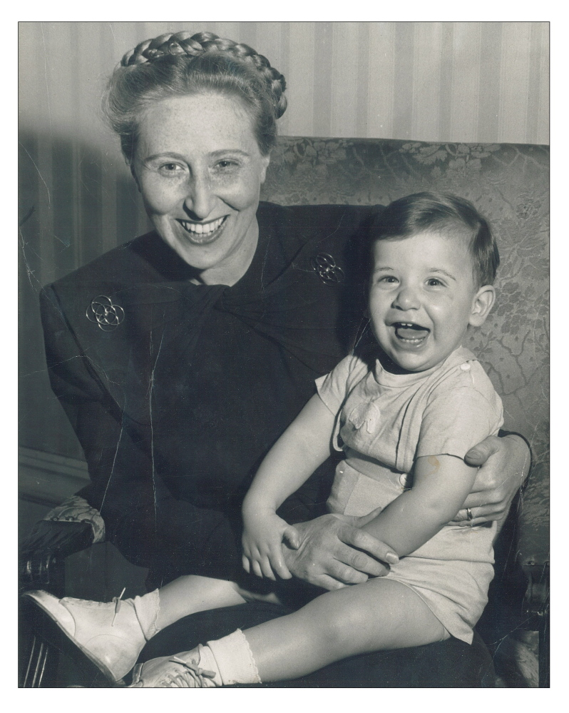 "Catherine ""Kay"" Cutler holds her eldest son, Eliot Cutler, in this family photo from the late 1940s."