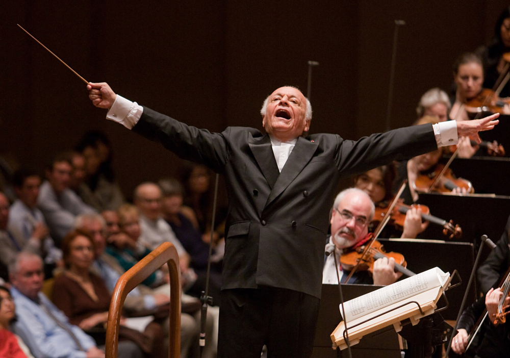 Lorin Maazel conducts the orchestra at Avery Fisher Hall in New York in 2009. Maazel died Sunday from complications following pneumonia at his home in northern Virginia. Photo provided by the New York Philharmonic.