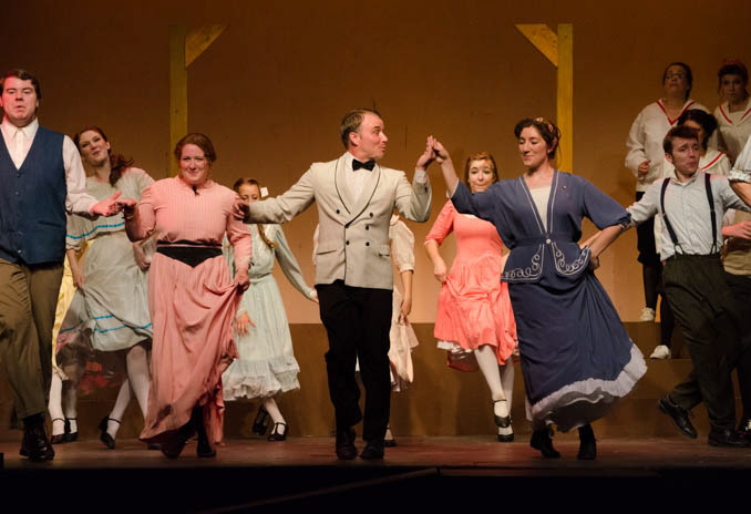 """Performing in """"Music Man"""" are, from left, Marcellus played by Robert Collinge; Ethel played by Samantha Bagdon; Harold Hill played by Dan Clay; and Marian played by Sarah Andrews."""