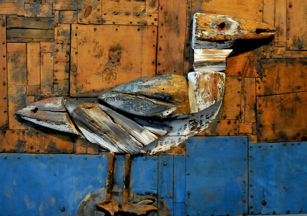 A wood sculpture of a gull by artist Bernard Langlais hangs at the Colby College Museum of Art in Waterville.