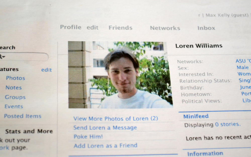 Karen Williams of Beaverton, Ore., had to sue to get access to her son's account on Facebook, above, after Loren Williams died in a 2005 motorcycle accident at age 22.