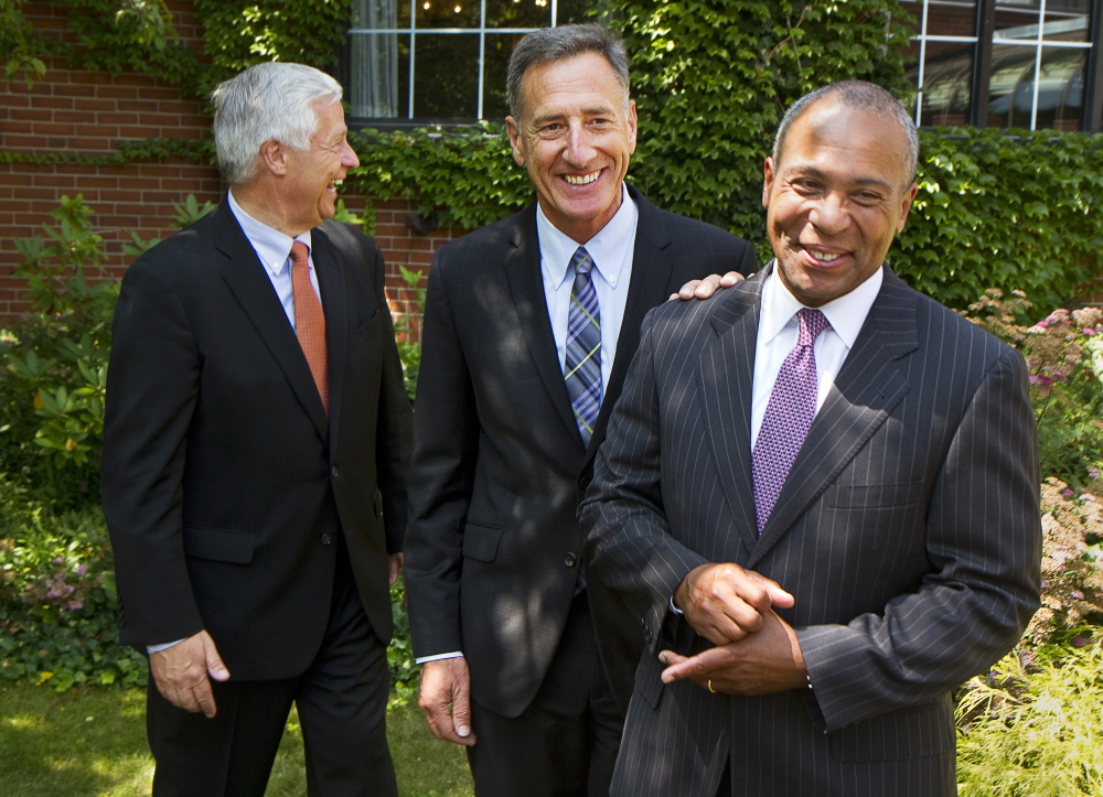 Maine Democratic gubernatorial candidate Mike Michaud, Gov. Peter Shumlin of Vermont and Gov. Deval Patrick of Massachusetts share a light moment after a news conference Monday at the Cumberland Club in Portland.