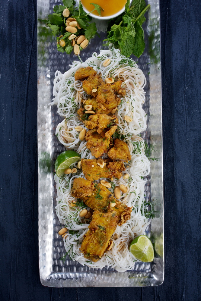 Hanoi-style fried fish with turmeric and dill.